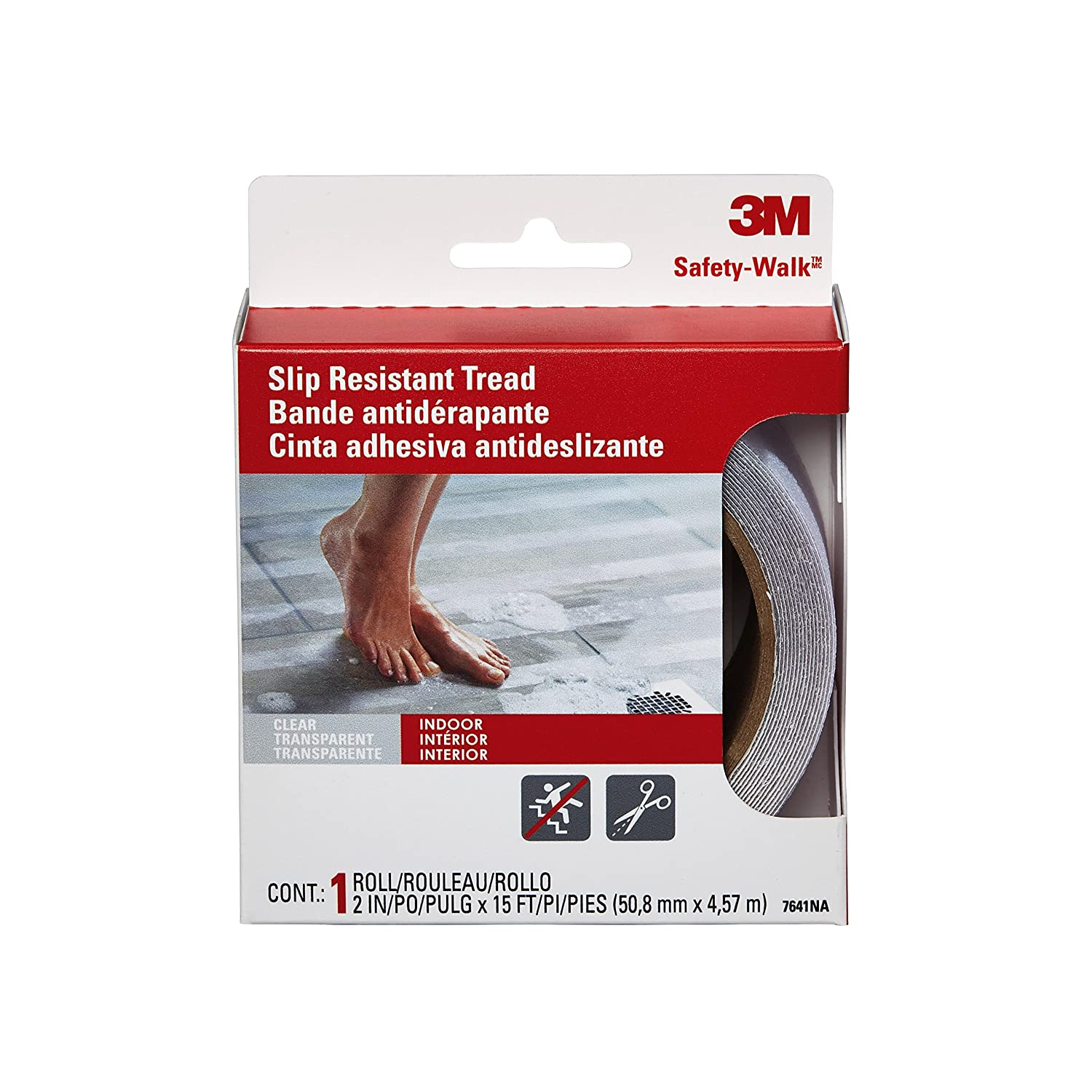 3M Safety-Walk Tub and Shower Tread, Clear, 2-Inch by 180-Inch Roll, 7641NA 3M CHIMD