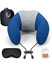 Womice Travel Pillow, Memory Foam Travel Neck Pillow Full Neck Chin Supporting Adjustable Comfortable Pillow with Washable Cover, Reusable Bag for Airplanes, Train, Home, Office