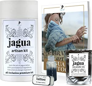 Jagua Black Temporary Tattoo and Body Painting Premium Kit. Perfect for Henna Tattoos, Fake Tattoos and Temporary tattoos. Includes Design Inspiration, Instruction Booklet