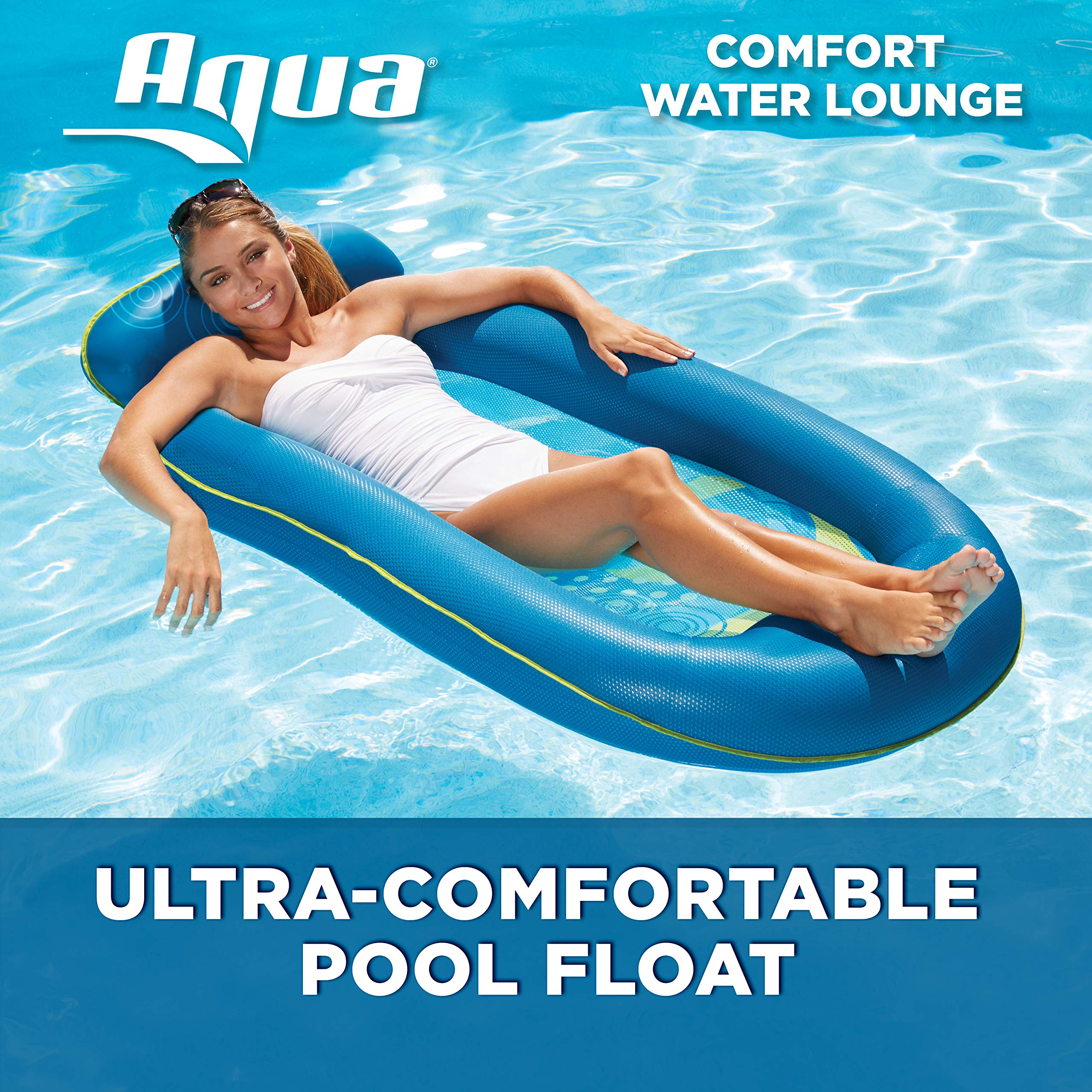 Aqua Comfort Water Lounge, X-Large, Inflatable Pool Float with Headrest & Footrest, Blue Bubble Waves by Aqua