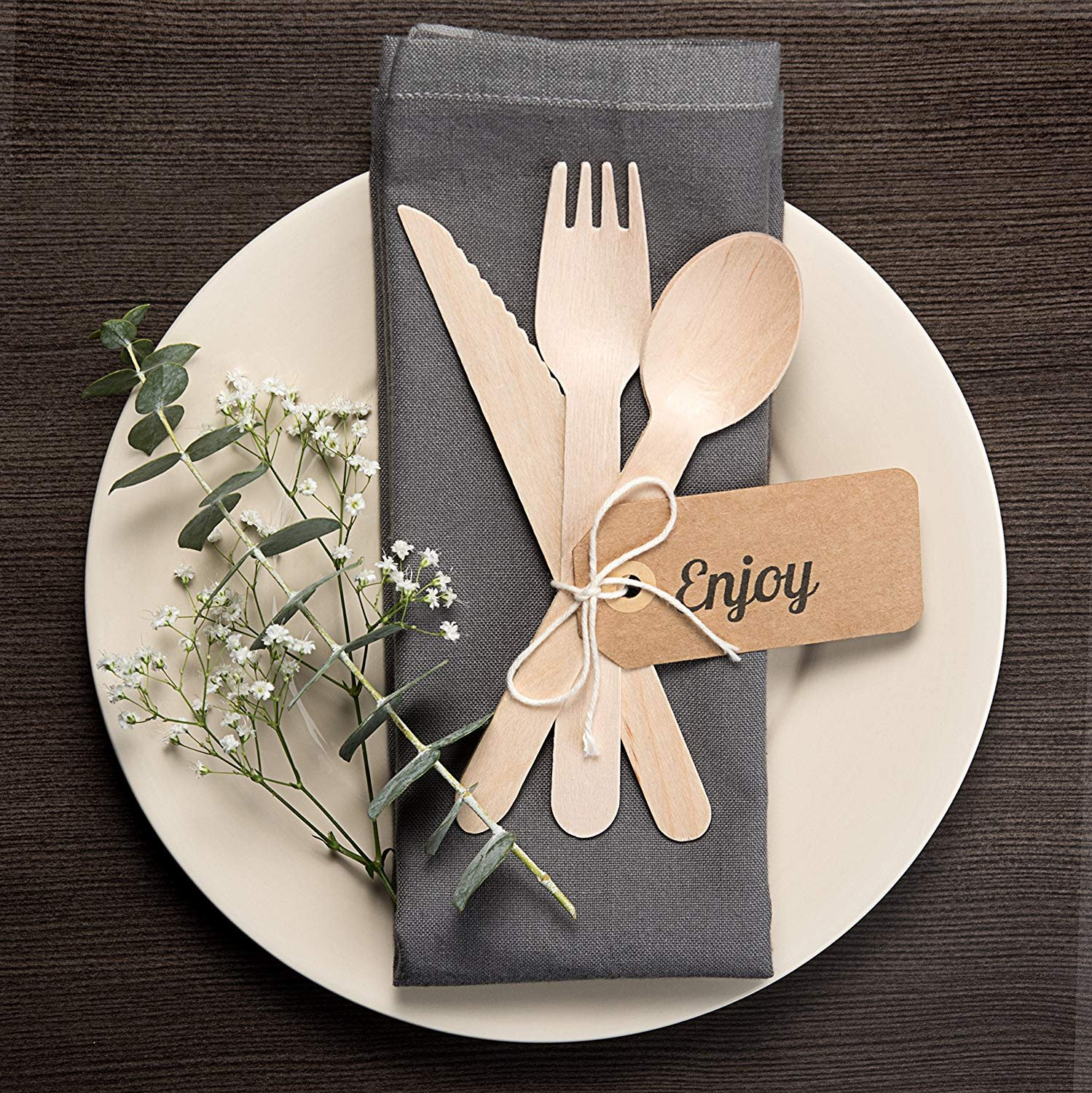 Wood set cutlery biodegradable-disposable-eco friendly-100 wooden forks-100 knives-100 spoons-For Parties, Picnics, Events & Weddings – Durable & Environmentally Safe by OFO WOOD (Image #2)