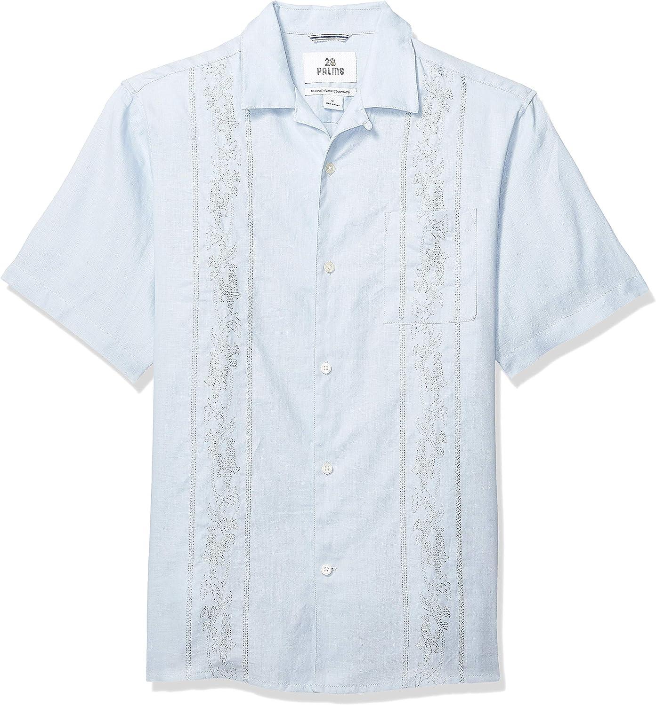 Marca Amazon - 28 Palms – Camisa guayabera bordada de manga corta de corte holgado de lino 100 % para hombre