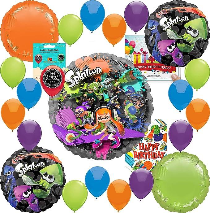 Amazon.com: Splatoon Party Supplies - Globo de cumpleaños ...