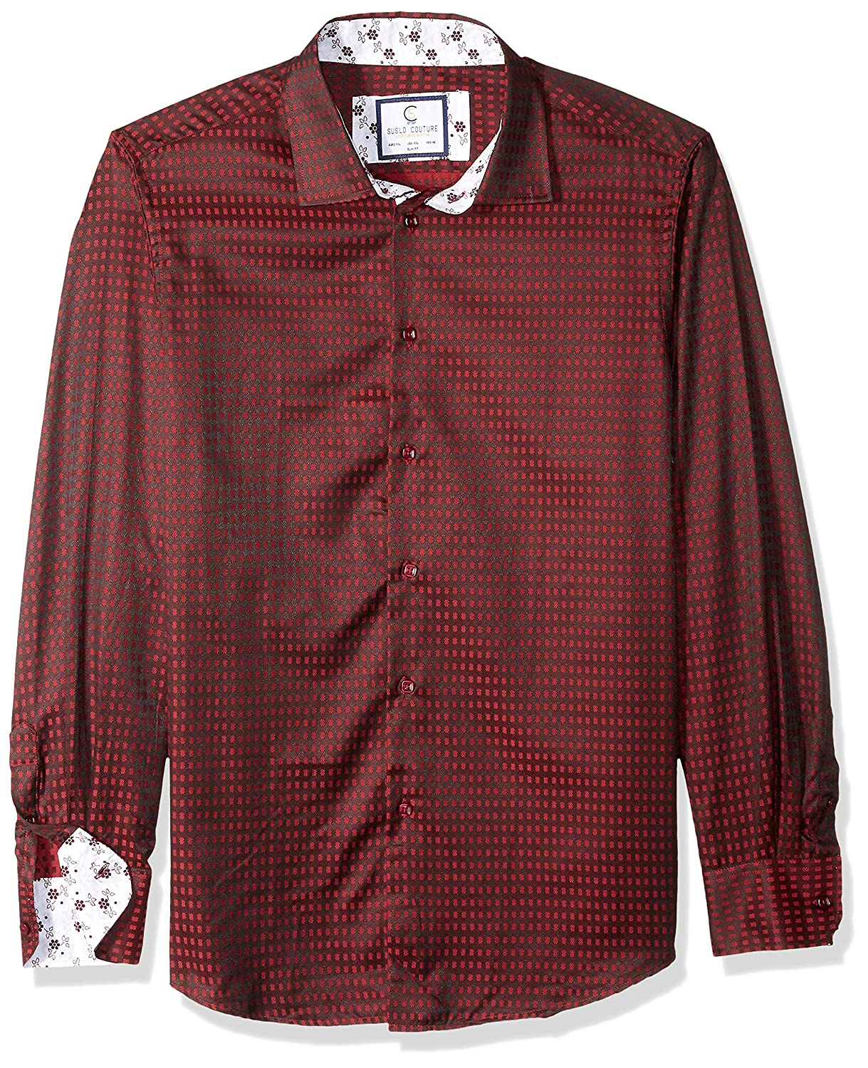 Azaro Uomo Mens Dress Shirt Casual Button Down Long Or 3//4 Sleeve Fitted