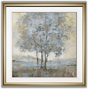 Renditions Gallery Soft Sentinel I Contemporary Artwork Framed Art Landscape Painting Tree Pictures Giclee Prints Home Wall Decor, 24X24, Gold