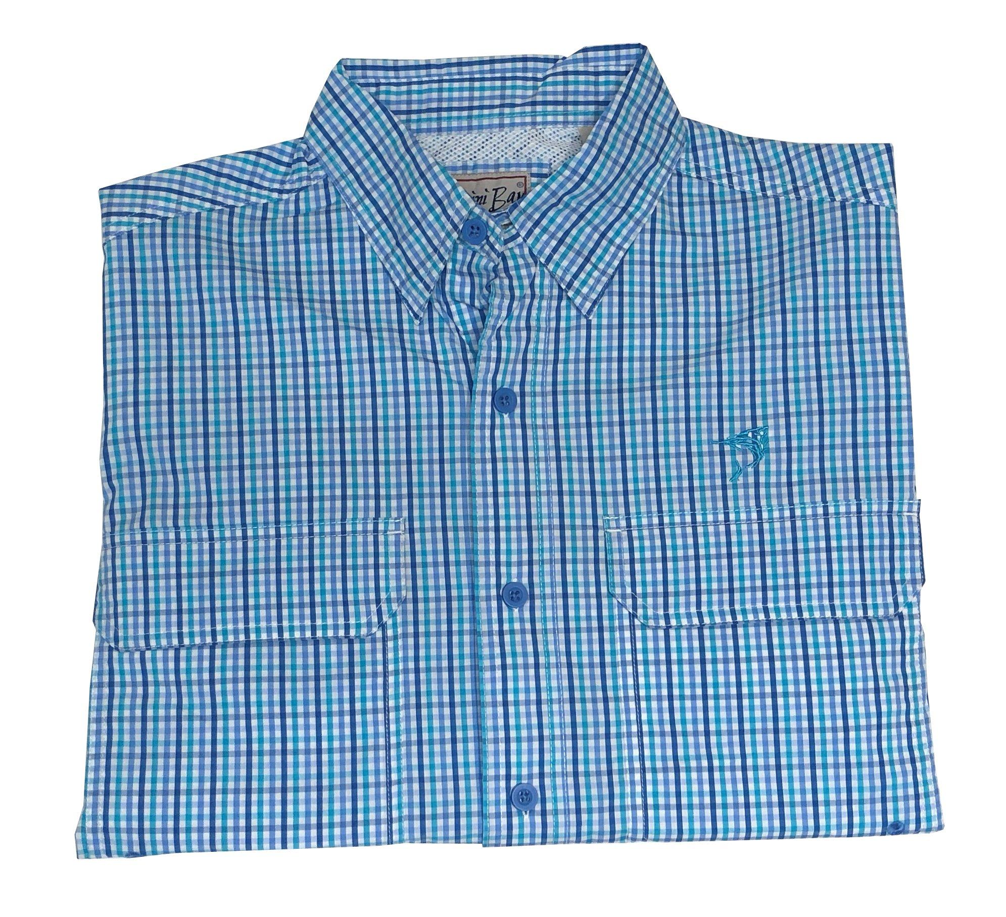 Bimini Bay Outfitters Pine Island Plaid Short Sleeve Shirt (Large, Marina) by Bimini Bay Outfitters