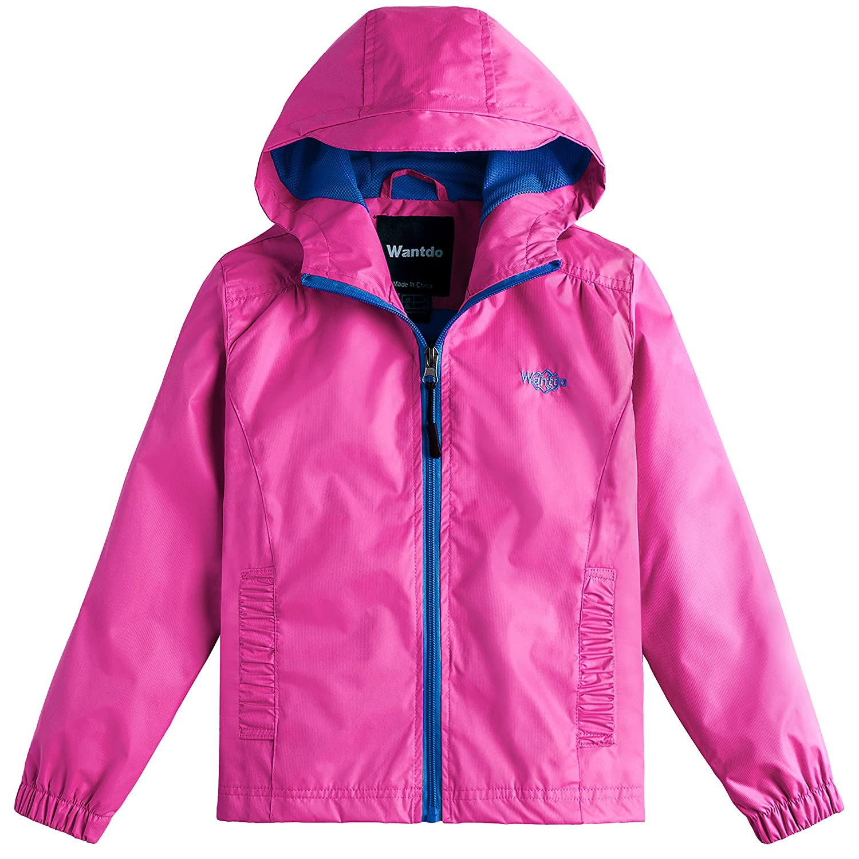 Wantdo Girls Waterproof Lightweight Rain Jacket Packable Hooded Raincoats Windbreaker Multi-Pockets