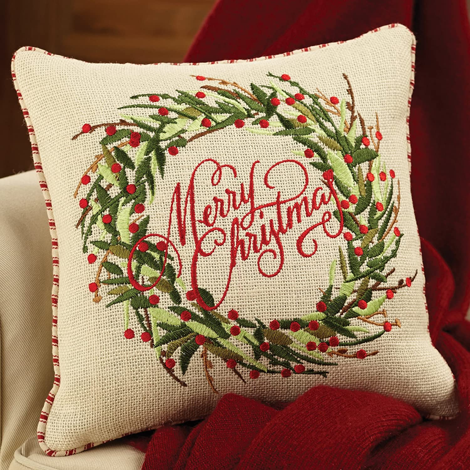 Mudpie Merry Christmas Burlap Pillow