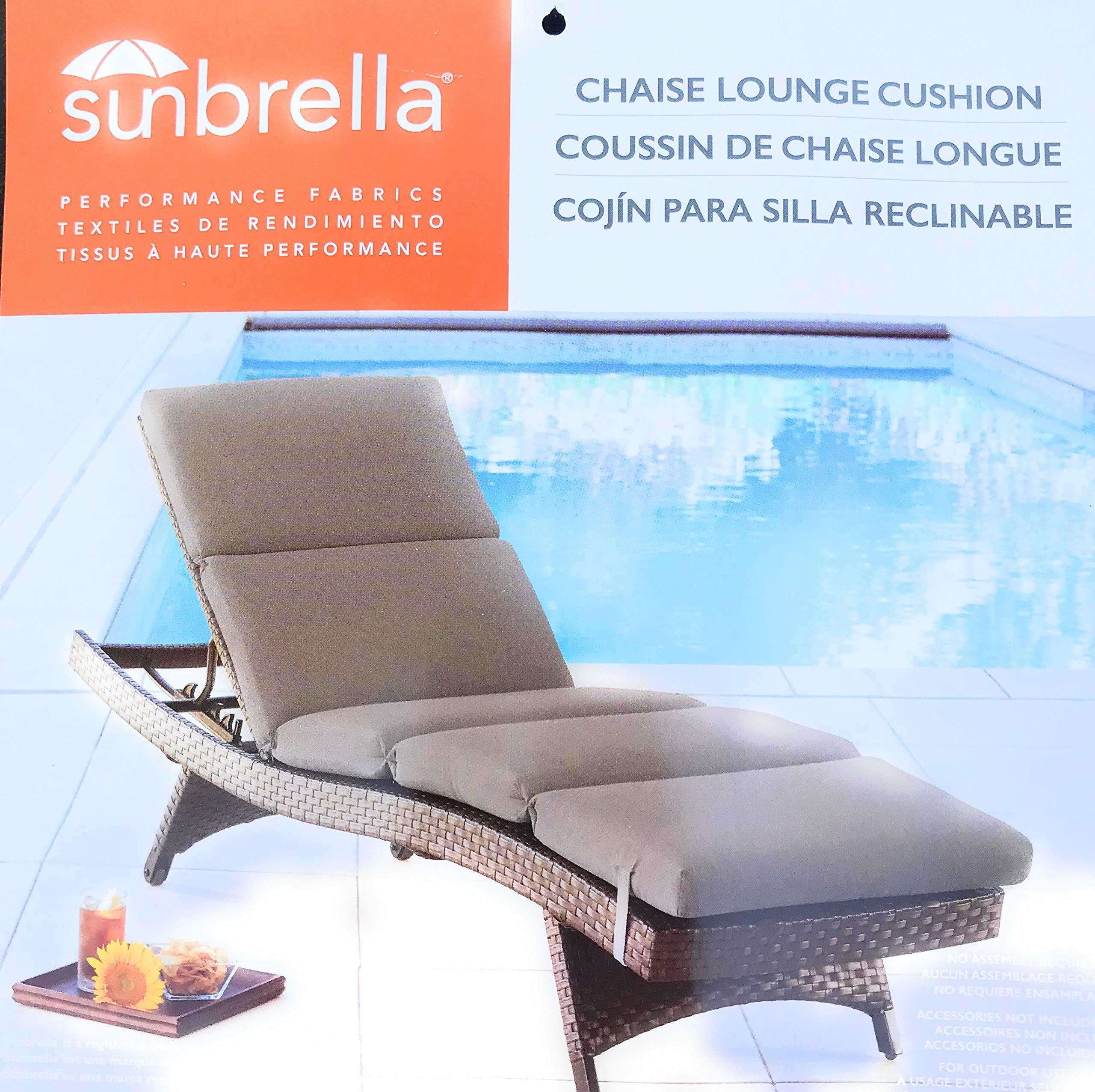 Sunbrella 75x25 Tan Chaise Lounge Cushion Chair Pad Replacement New