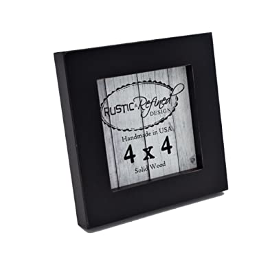 Rustic and Refined Design 4x4 Solid Wood Made in USA Picture Frame with 1 Inch Border (Gallery Collection) - Black