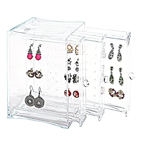 Amazoncom 3 Vertical Drawers Earring Display Case Jewelry