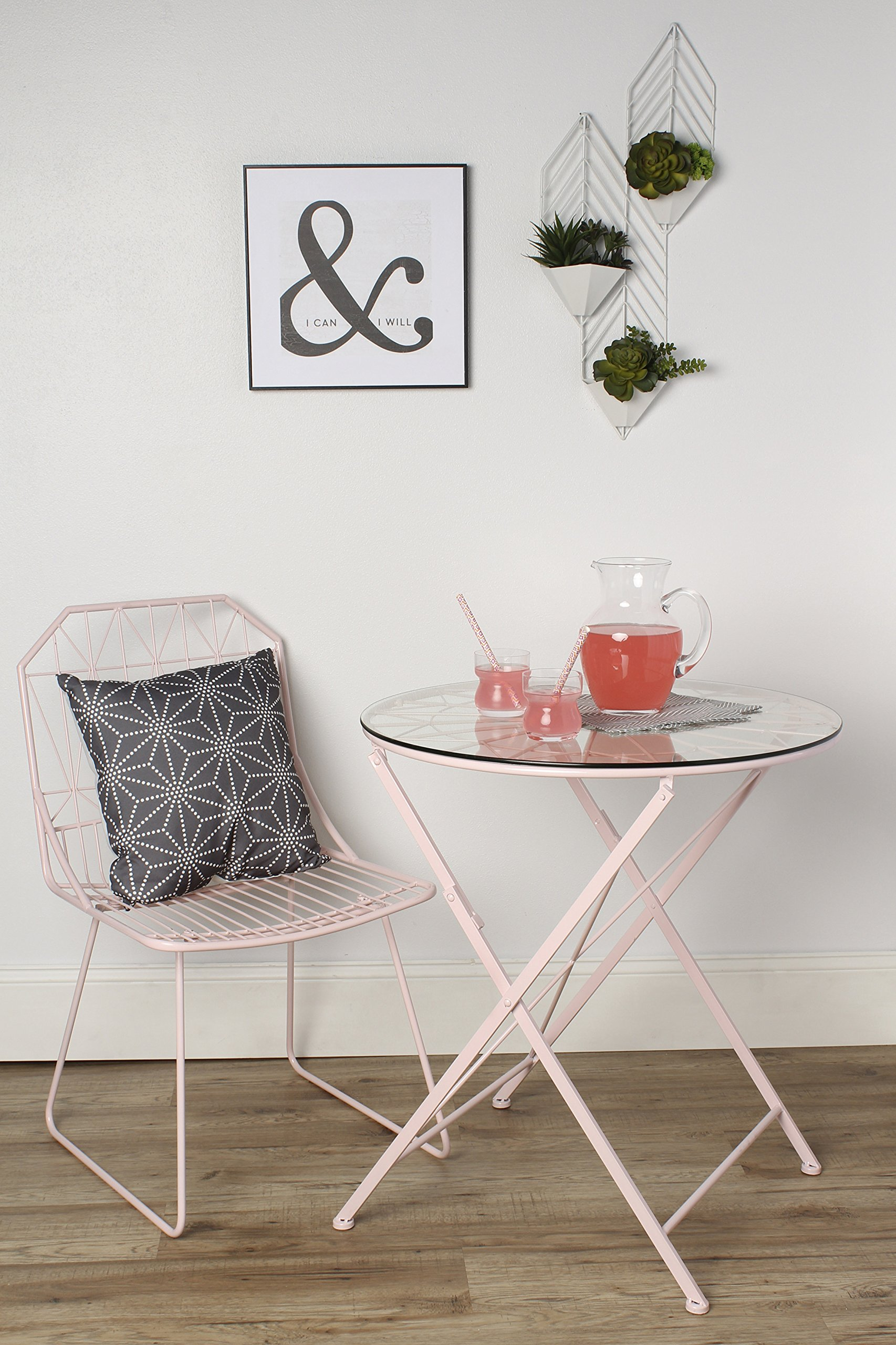 Kate and Laurel Kate & Laurel Thrapston Metal & Glass Round Dining Table, Pink by Kate and Laurel (Image #4)