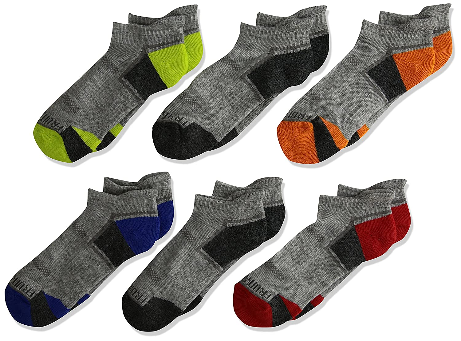 Fruit of the Loom Boys Big Everyday Active Low Cut Tab Socks-6 Pair Pack FRB10023T6UC001