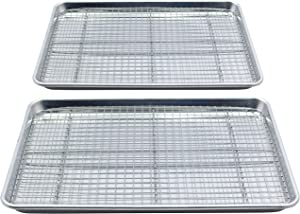 Checkered Chef Stainless Steel Baking Sheets With Racks - Twin Set - 2 Heavy Duty Non Warping Half Sheet Pans for Baking with 2 Oven Safe Baking/Cooling Racks