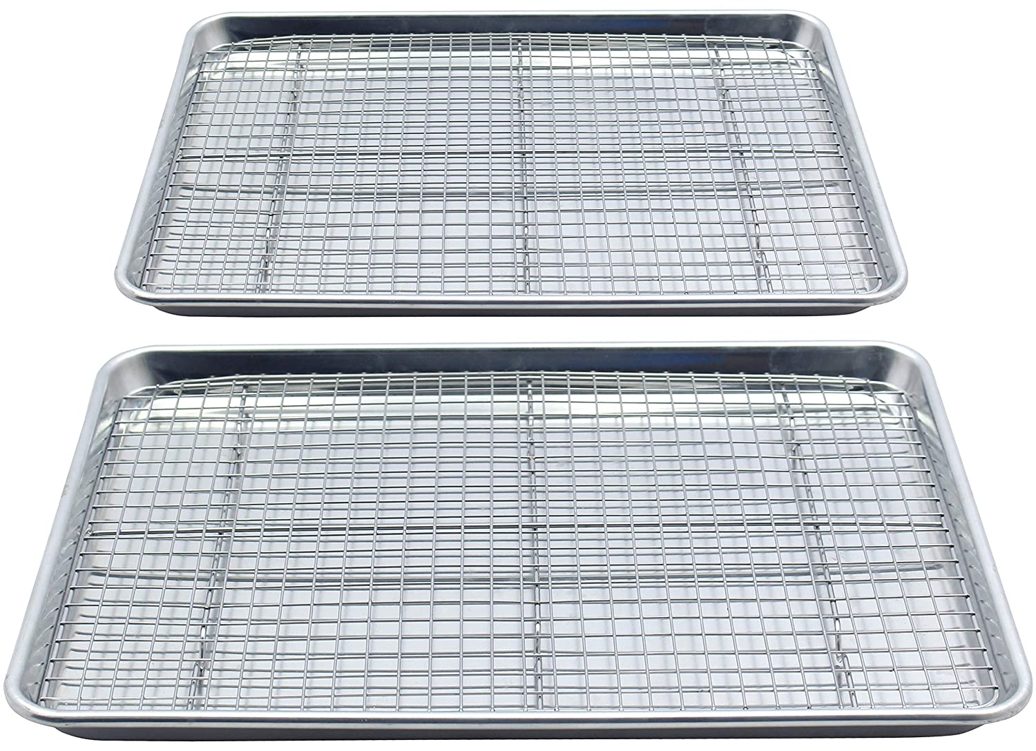 Checkered Chef Baking Sheet and Rack Set - Twin Pack- 2 Aluminum Cookie Sheets/Half Sheet Pans With 2 Stainless Steel Oven Safe Cooling Racks