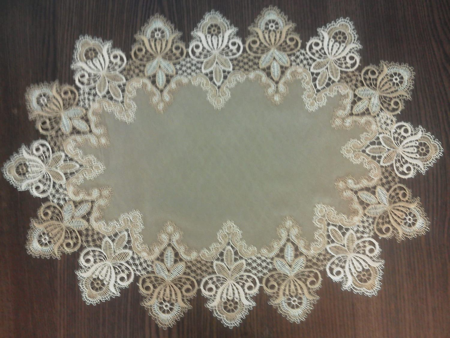 Doily or Placemat in Gold Vintage Lace and Brown Microsuede Fabric, Size 24 x 15 inches