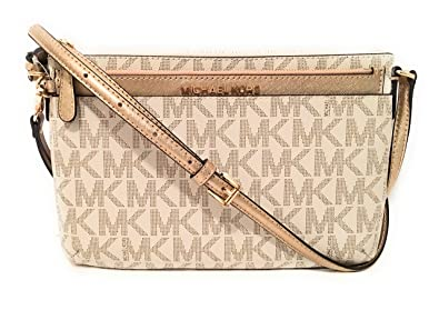 40722b66f236 Image Unavailable. Image not available for. Color  Michael Michael Kors Jet  Set Travel Large Pocket Messenger Bag Vanilla Gold