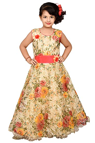 Roop Trading Co Net Fabric Women/Girls Party wear Gown in Lemon Size ...