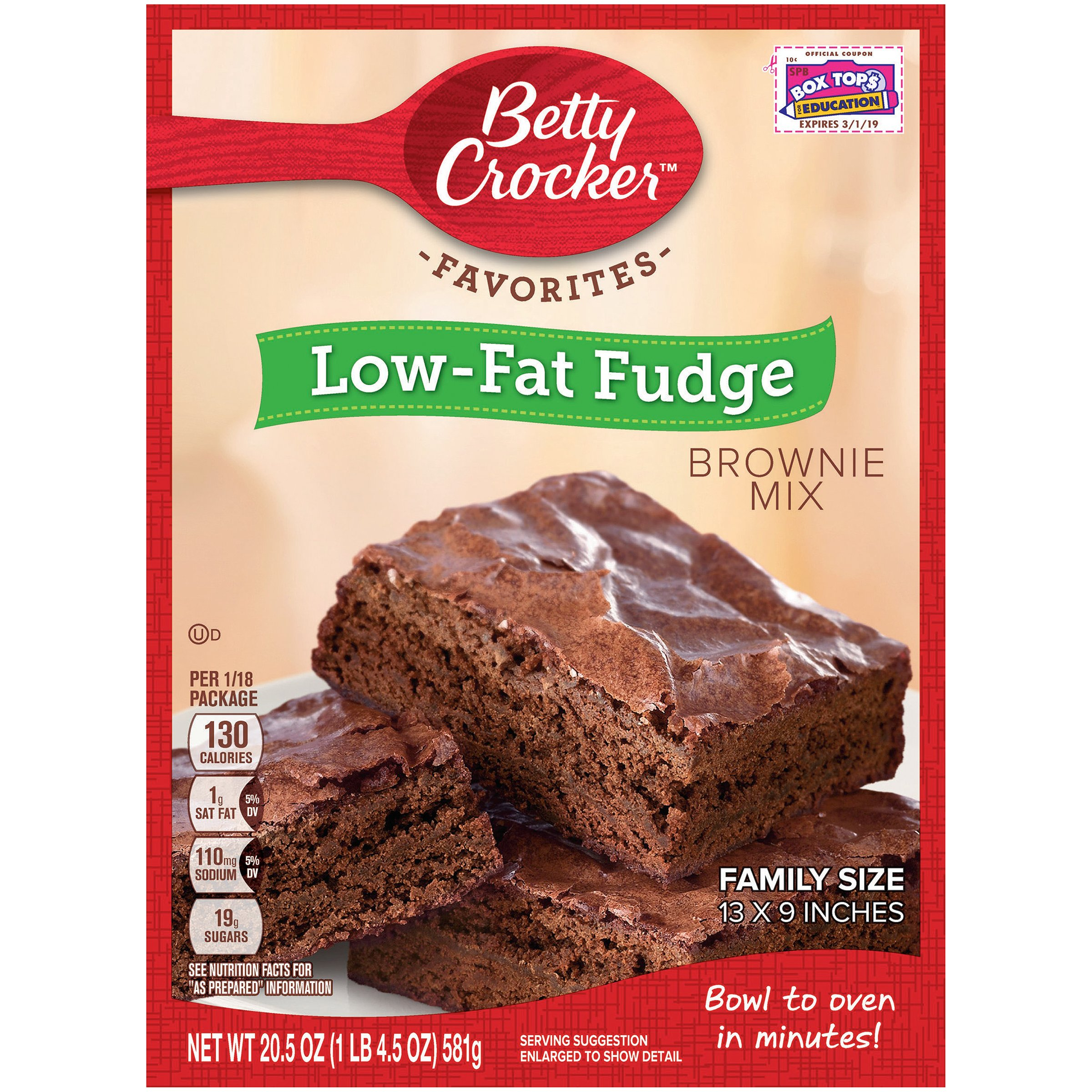 Betty Crocker Baking Mix, Low Fat Brownie Mix, Fudge, 20.5 Oz Box (Pack of 12)