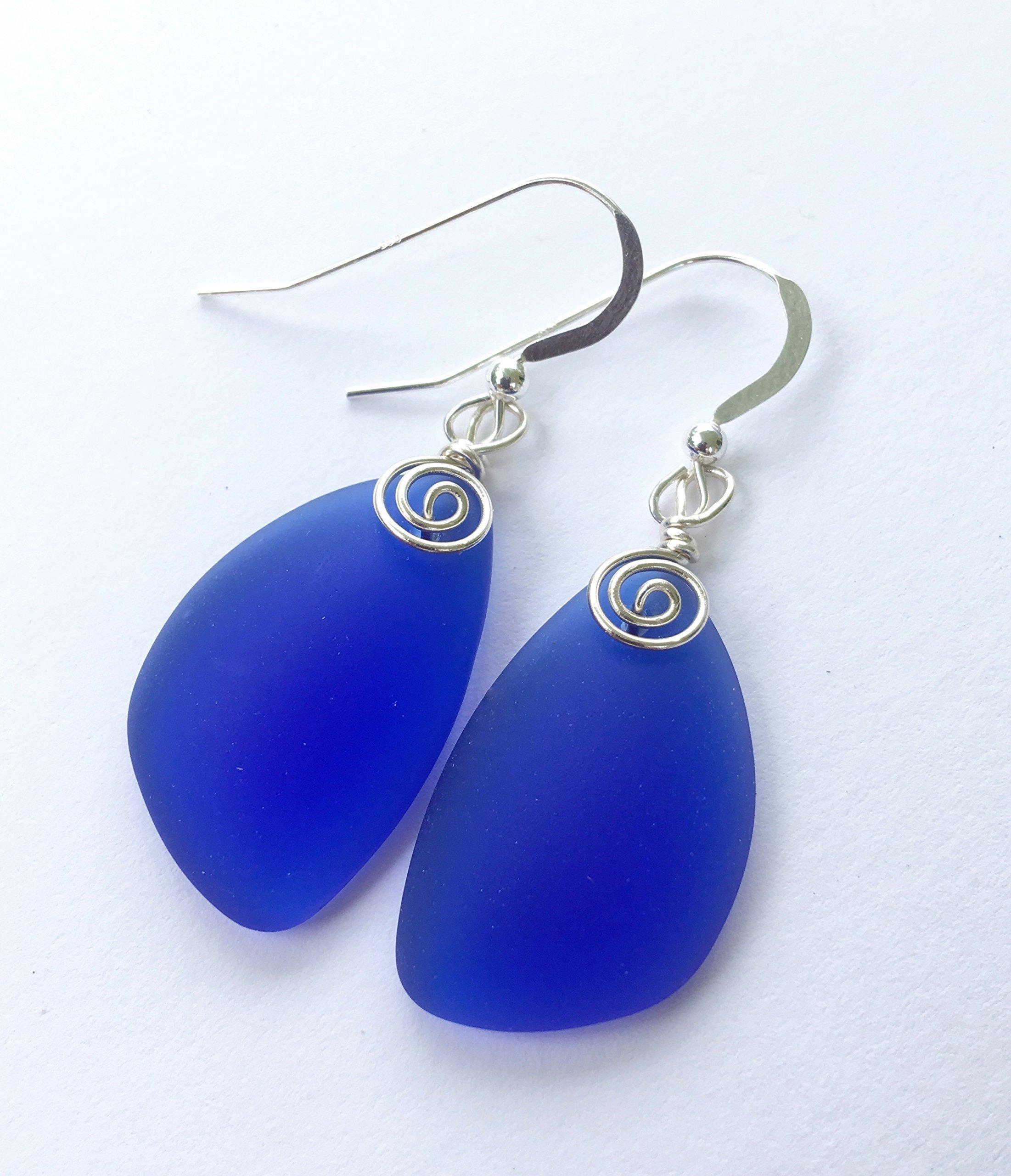 Number One Selling Cobalt Blue Swirl Sterling Silver Earrings, Sea Glass Earrings, Cobalt Blue Earrings, Gift for her, Dangle Earrings, Sterling Silver Earrings, July 4th Jewelry
