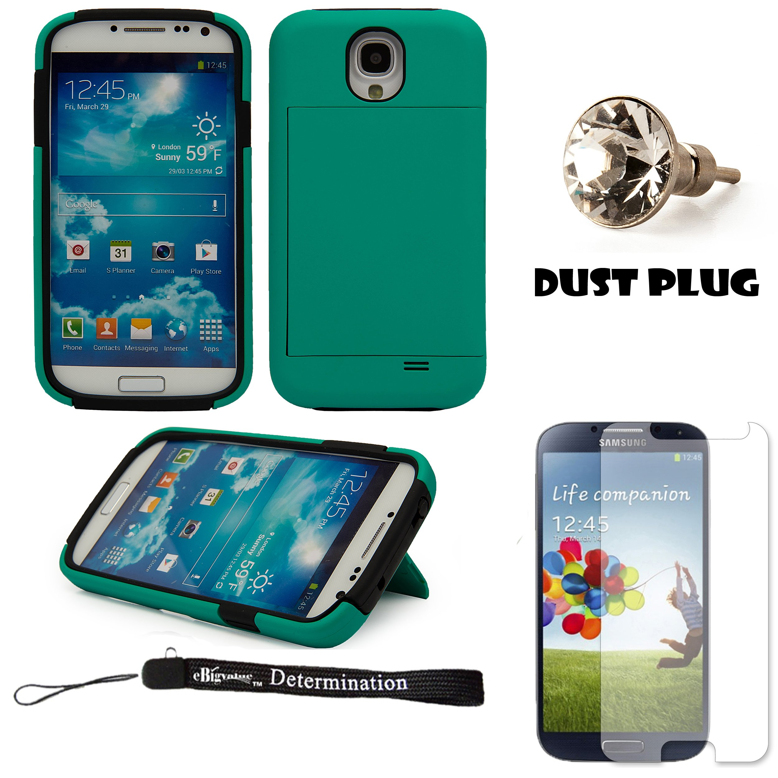 Teal 2-Piece hard Protective Case with Credit Card Holder Slot and Stand For Samsung Galaxy S4 Android Smartphone 4G LTE (Jelly Bean) + Silver Swarovski Crystal Headphone Jack Dust Plug + Samsung Galaxy S4 Screen Guard Protector + an eBigValue ™ Determi