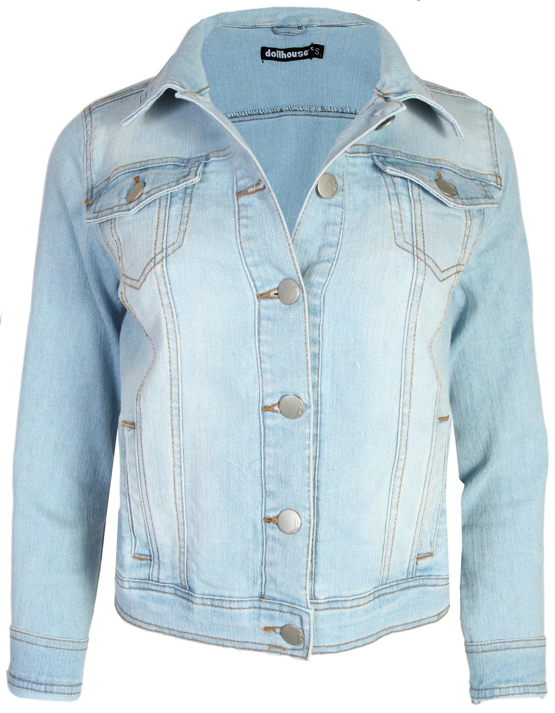 dollhouse Women Basic Denim Jean Jacket, Light, X-Large'