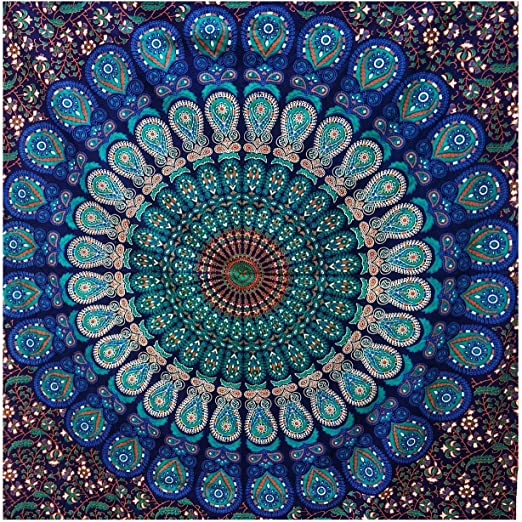 Large Queen White Hippie Indian Mandala Tree Life Tapestry Wall Hanging Picnic B