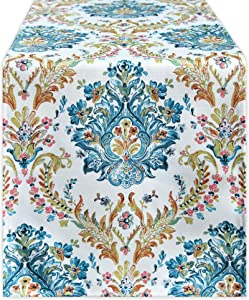 Elegant Floral Damask Pattern Linen Textured Table Runner - Waterproof Wrinkle Resistant Oil Proof Heavy Weight Table Runner for Catering Events, Dinner Parties,14 x 72 Inch,Yellow and Green