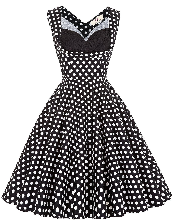 Yafex Vintage 1950er Floral Pattern Festliche Kleid Mehrer Farbe Partykleid