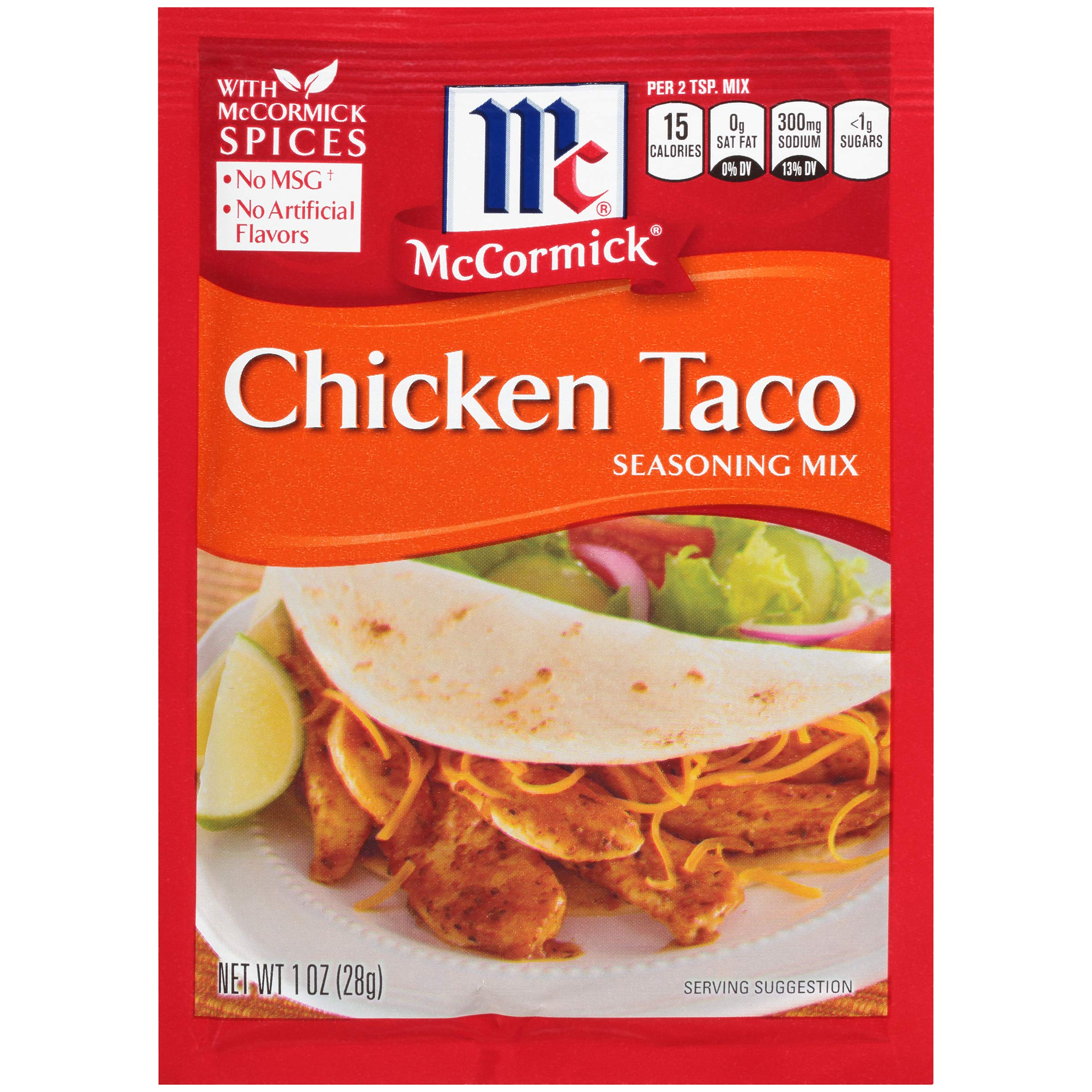 McCormick Chicken Taco Seasoning Mix, 1 oz, Create the Perfect Chicken Taco Fiesta, No MSG or Artificial Flavors, Works Great with Beef, Turkey, Beans and Veggies Too!