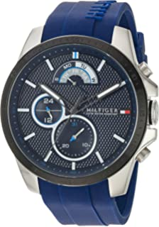 fd15c3c8 Tommy Hilfiger Men's Cool Sport Stainless Steel Quartz Watch with Silicone  Strap, Blue, 22