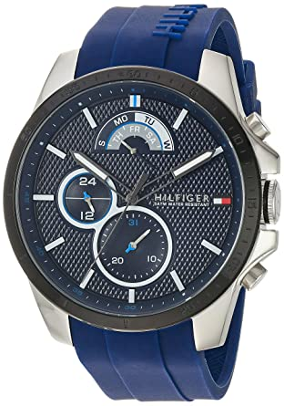 c7b2b88b Amazon.com: Tommy Hilfiger Men's Cool Sport Stainless Steel Quartz Watch  with Silicone Strap, Blue, 22 (Model: 1791350): Watches