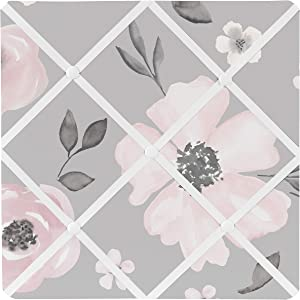 Sweet Jojo Designs Grey Watercolor Floral Fabric Memory Memo Photo Bulletin Board - Blush Pink Gray and White Shabby Chic Rose Flower Farmhouse