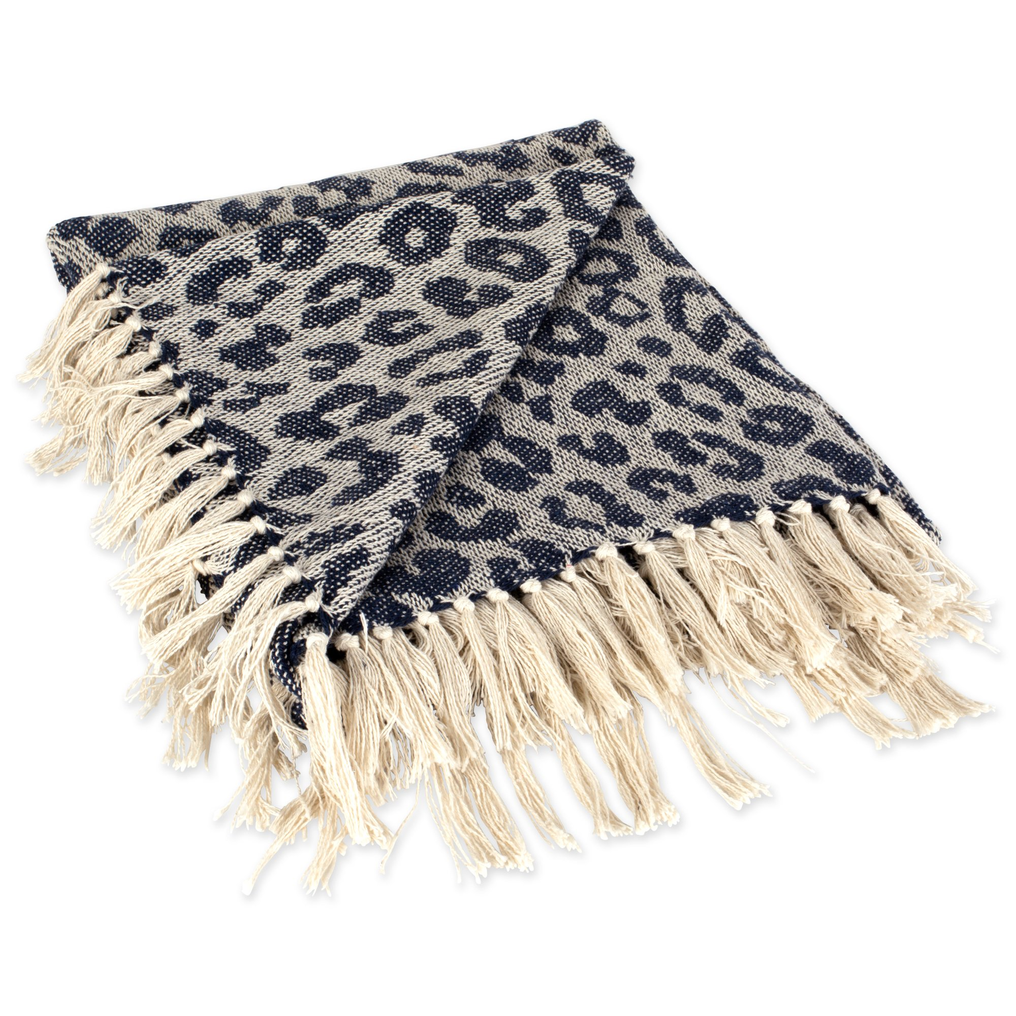 DII CAMZ38919 Modern Cotton Luxury Leopard Print Blanket Throw with Fringe for Chair, Couch, Picnic, Camping, Beach, and Everyday, 50 x 60, Blue by DII