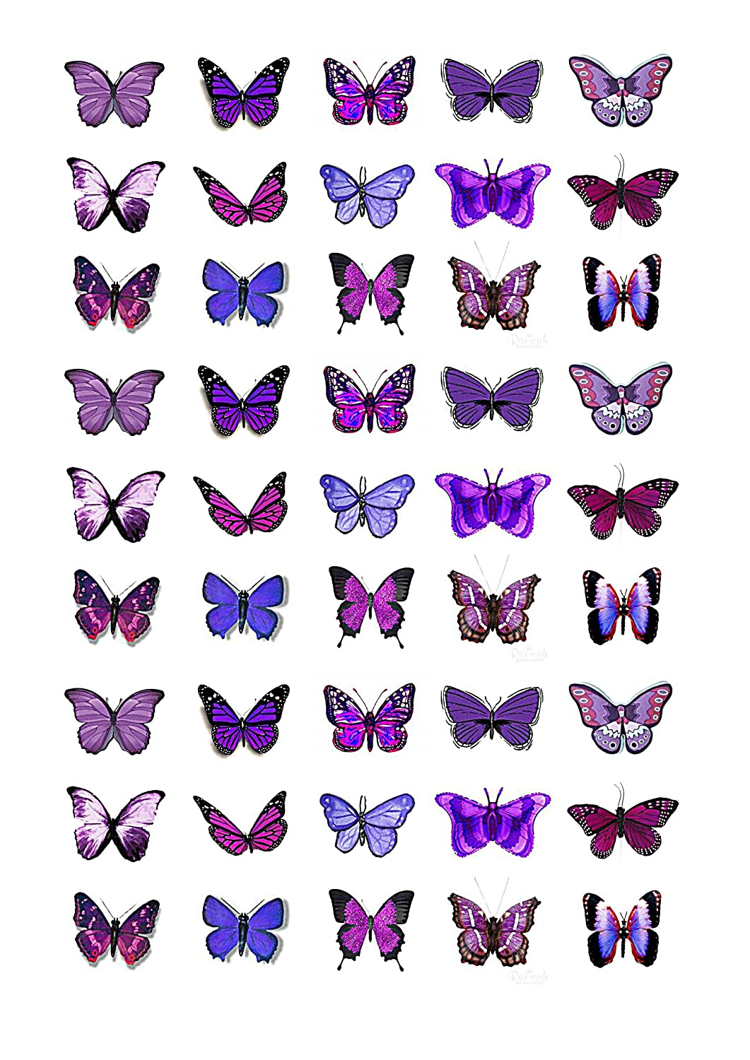 Amazoncom 45x Purple Butterflies Edible Cake Toppers Birthday