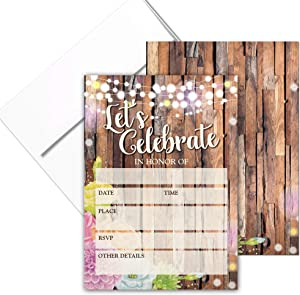 Rustic Fill-in Party Invitations with Envelopes - 25 Let's Celebrate Colorful Invites & Envelopes - Wedding, Baby Shower, Rehearsal Dinner, Birthday Party (Rustic Lets Celebrate)