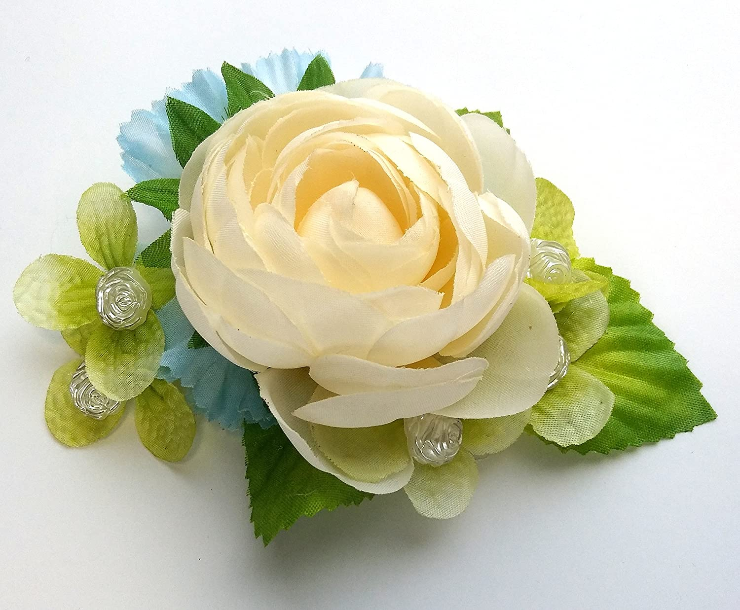 Amazon Ivory White Ranunculus Flower With Aqua Blue And Green