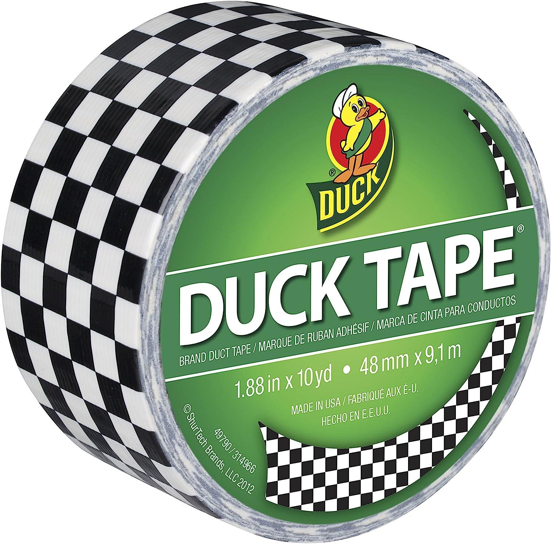 Cinta Adhesiva ShurTech Duck de 4,7 cm x 9 m con decoraci/ón de damero Multicolor