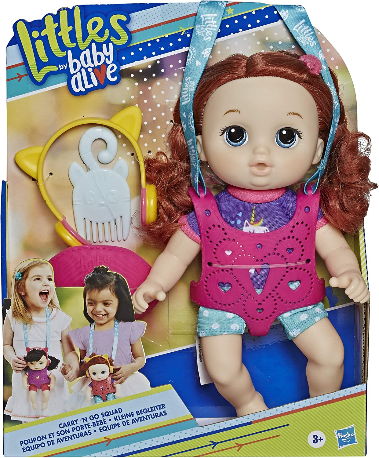 Littles by Baby Alive, Carry 'N Go Squad, Little Zoe, Red Curly Hair Doll, Carrier, Accessories, Toy For Kids Ages 3 years & Up