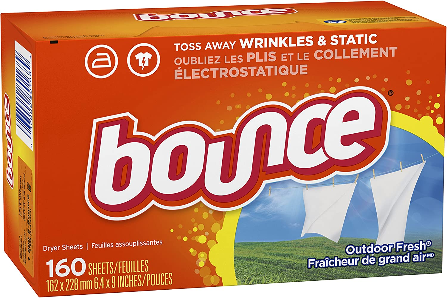 Bounce Renewing Wrinkle/Static Removing Fabric Softener Dryer Sheets: Outdoor Fresh - 1 Pack (160 Sheets)