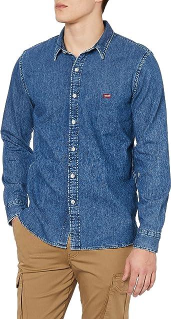 Levis Hombre Camisa de Mezclilla con batería, Azul: Amazon.es: Ropa y accesorios