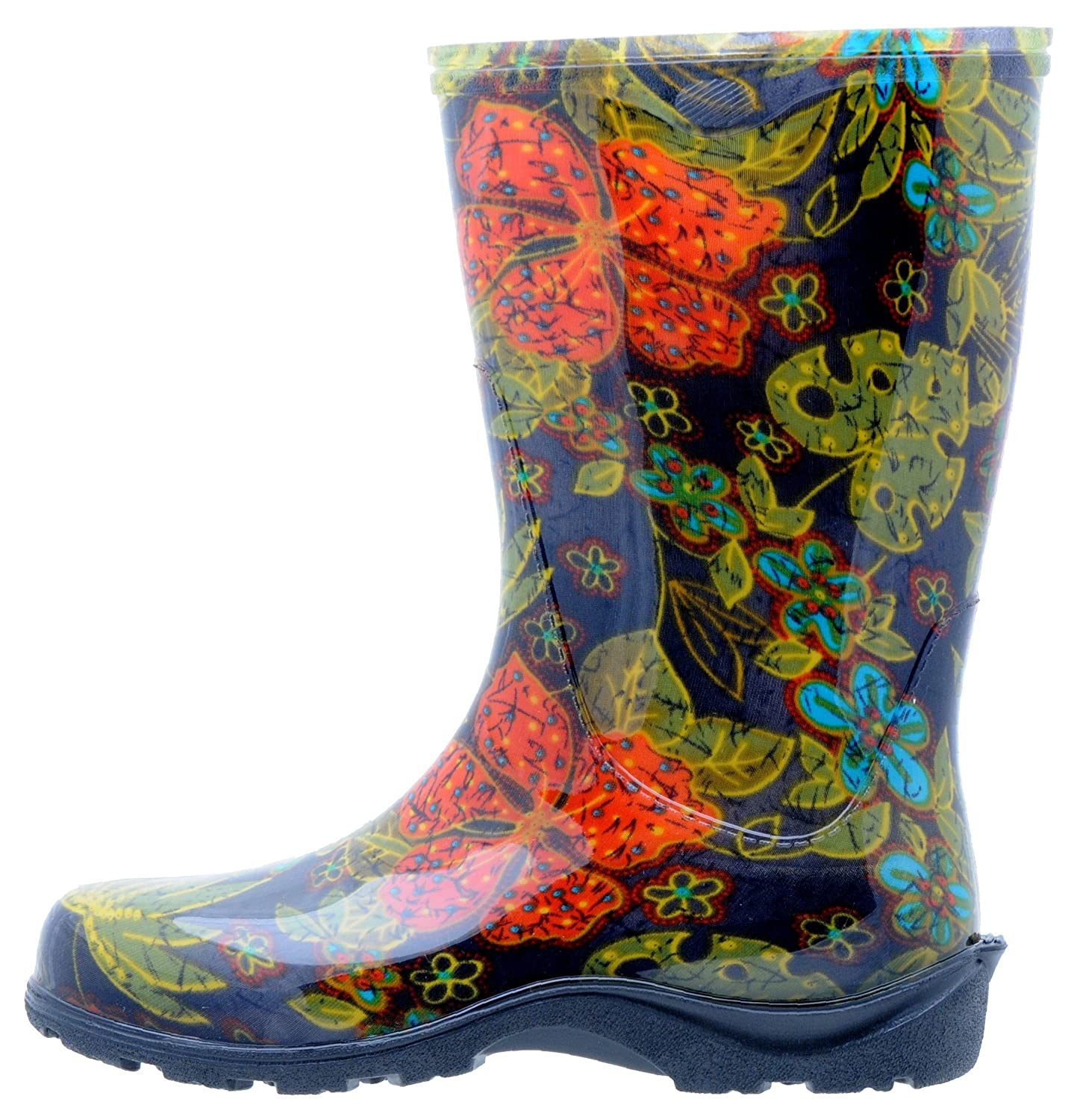 garden boots for women rubber sloggers womens waterproof rain and garden boot with comfort black insole midsummer black