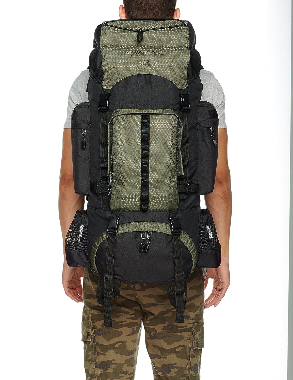 371ddb1a6b AmazonBasics - Zaino da escursionismo con telaio interno e cerniera  antipioggia, 55 L, Verde: Amazon.it: Sport e tempo libero
