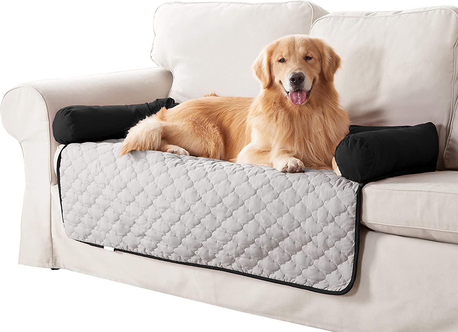 Quick Fit Wubba Reversible Pet Bed Couch Cover for Dogs, 45x34, Silver-Black