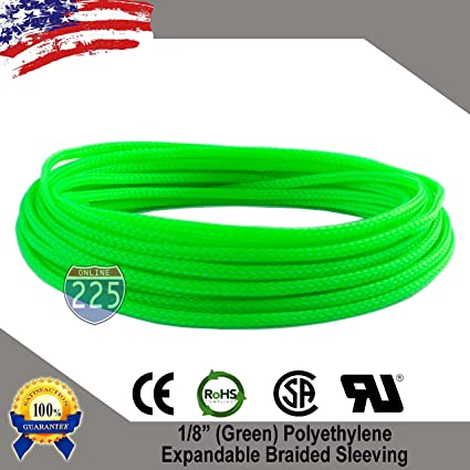 "50 FT 1//4/"" Black Green Expandable Wire Sleeving Sheathing Braided Loom Tubing US"