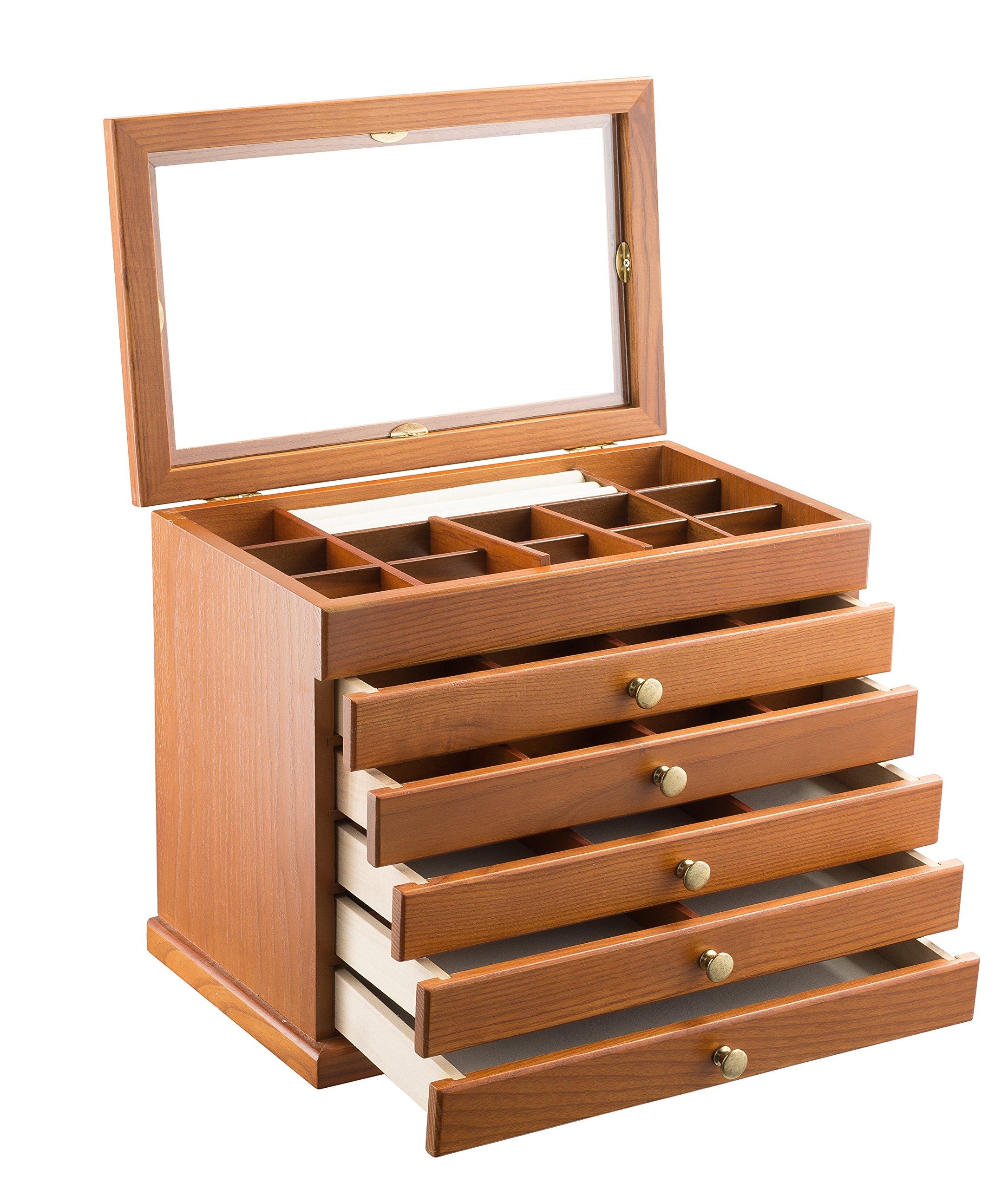 Geff House Large Wood Jewelry Organizer Chest (Honey Oak)