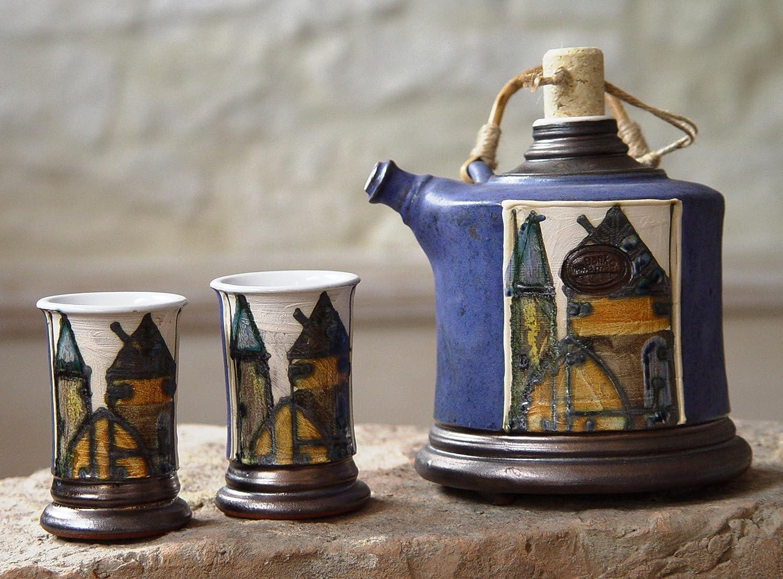 Unique Pottery Set, Handmade Earthen Bottle with Mugs, Danko Pottery