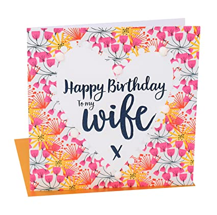 Amazon Pom Pomhappy Birthday To My Wife Greeting Card