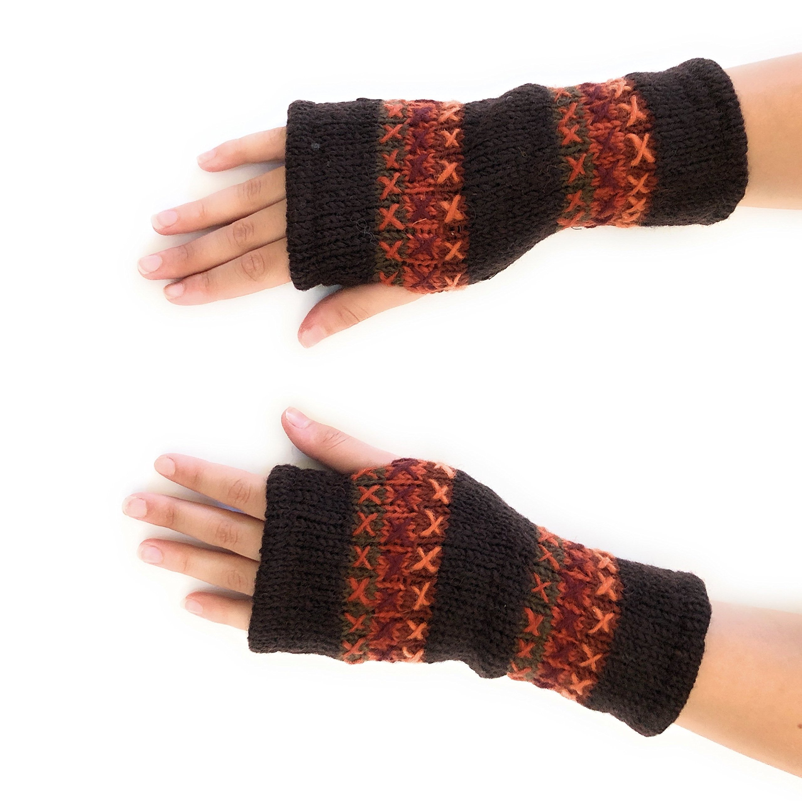 Hand Knit Fingerless Graphic Winter Wool Texting Gloves Mittens Warm Fleece Lined (Rust)