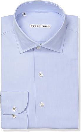 Stefanelli Camisa para hombre clásica, 100% algodón, fabricada en Italia.